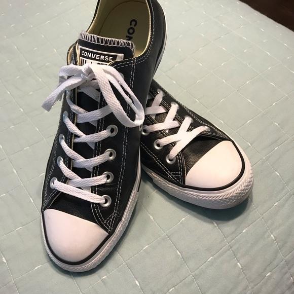 Men's black leather Converse shoes